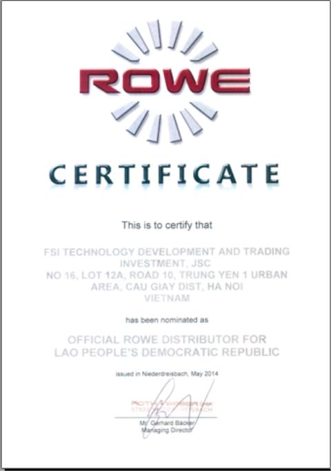 Certified exclusive distributor ROWE - Laos
