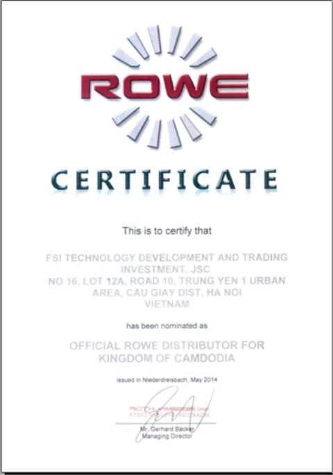 Certified exclusive distributor ROWE - Campuchia